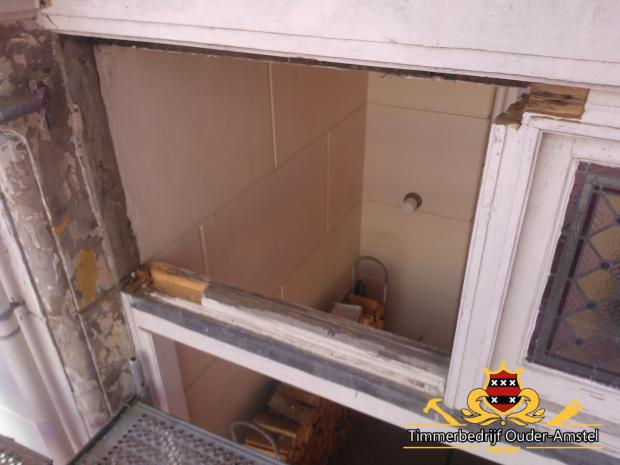 Houtrot glas-in-lood (oude situatie)
